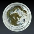 1 Oz Lunar 2 Drache 2012 Silber Gilded